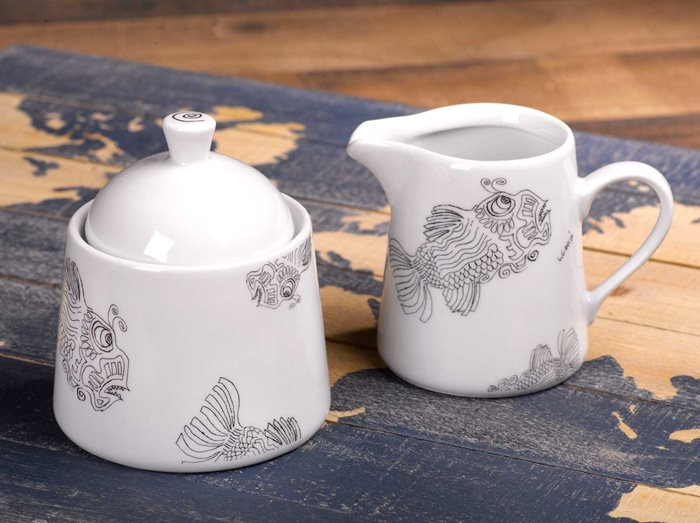 Fish - Creamer Jug and Covered Sugar Set preview